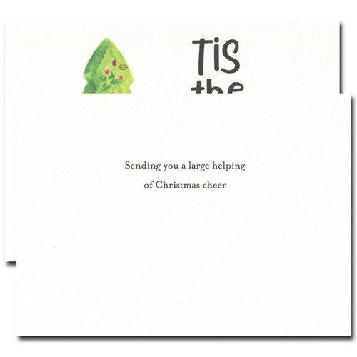 Christmas cake holiday card inside reads: Sending you a large helping of Christmas cheer