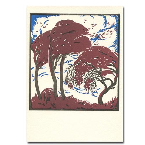 Saturn Press Letterpress Card - Equinox features autumn trees in twilight