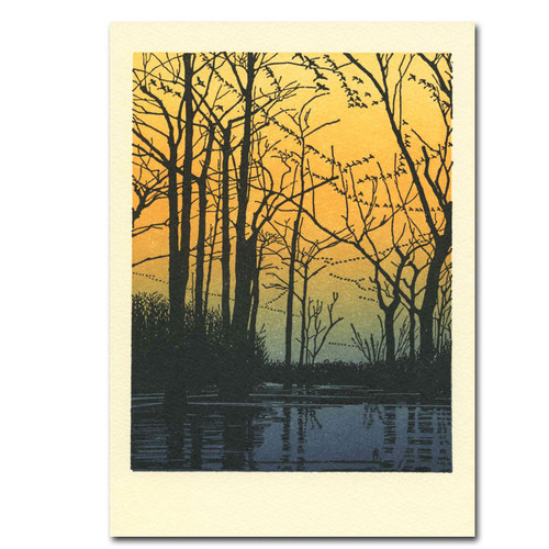 Saturn Press Letterpress Card - Due South Cover shows a scene of trees with no leaves in a swampy area with the sun low in the horizon, and images of migrating birds heading south