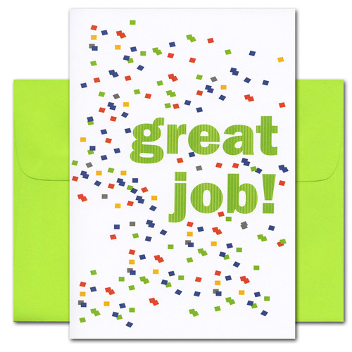 "Business Congratulations card: Great Job! card cover with multi-color rectangles and the words ""Great Job!"""