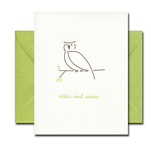 Older and Wiser letterpress card from Albertine Press