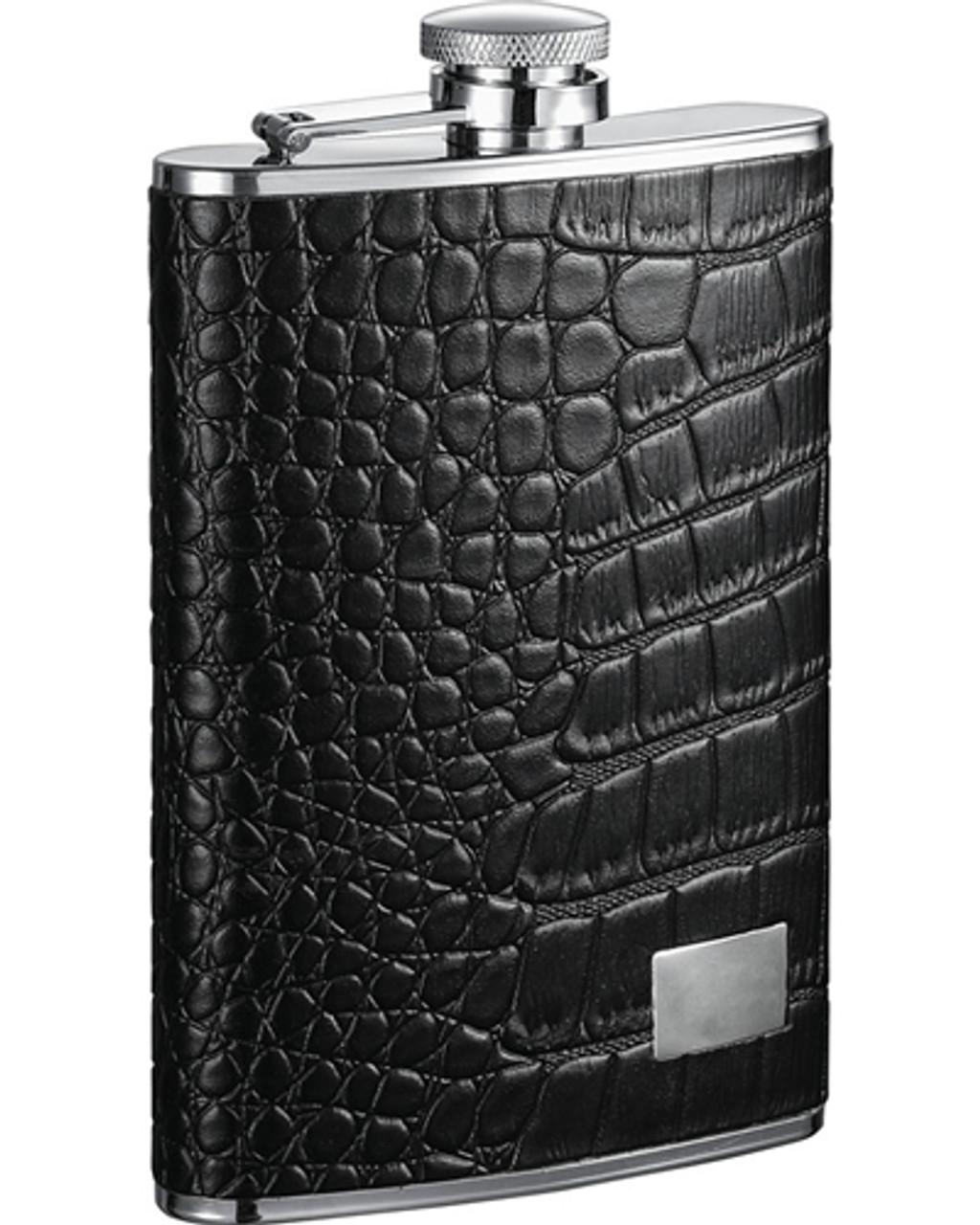 Visol Gator Leather Hip Flask 8 Oz Vf1184 Visol