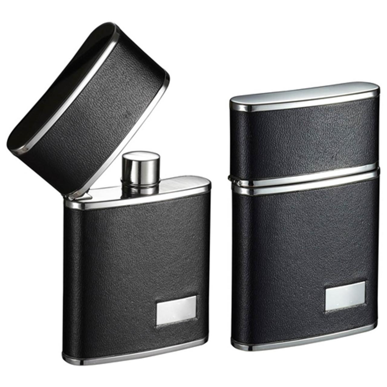 Visol Flip Top Black Leather Stainless Steel 2 5 Oz Hip Flask Vf2065 Visol