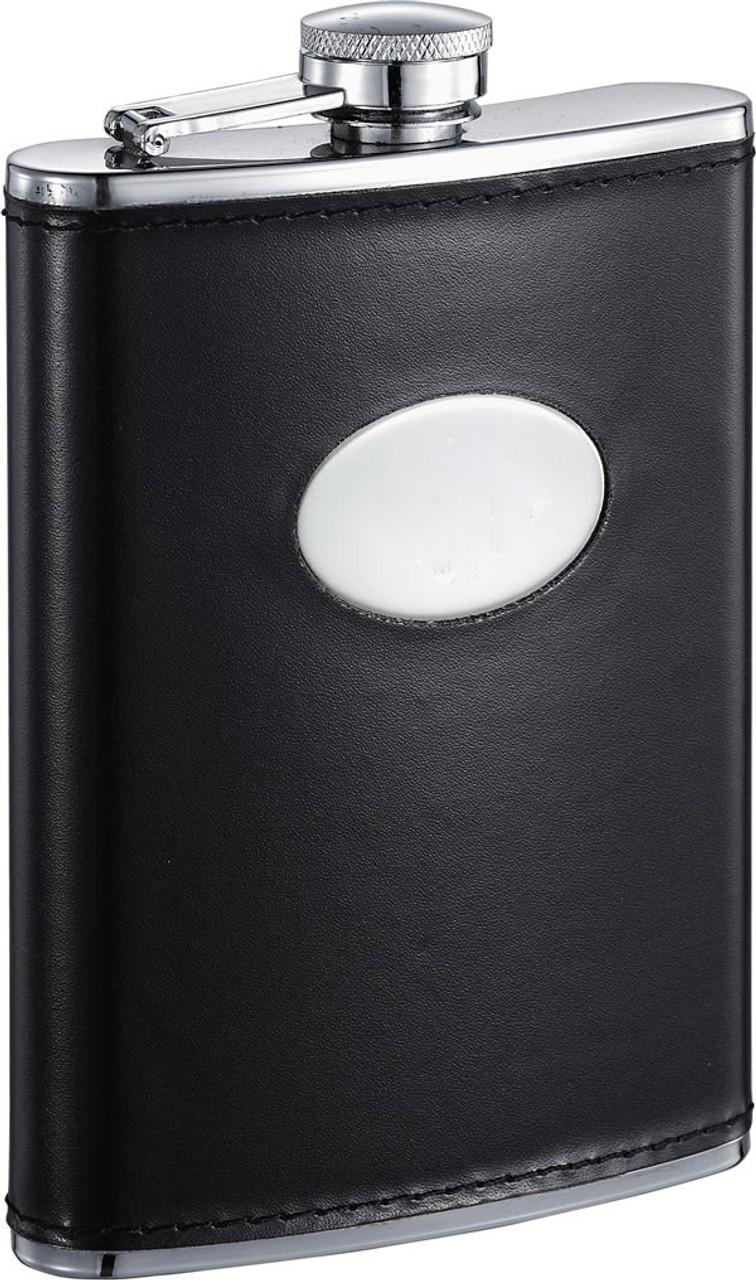 Visol Frank Black Leather Liquor Flask 8 Oz Vf5019 Visol