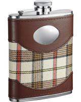 Visol Braw Plaid Cloth Brown Leather Stellar Hip Flask Gift Set 6 Oz Vset32 1119 Visol