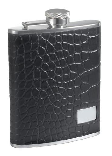 Visol Gator Black Leather And Stainless Steel Hip Flask 6 Oz Vf1157 Visol