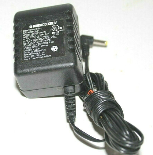 Black & Decker UA170020B AC Adapter Charger 17VAC Adapter 90561138-01- Used