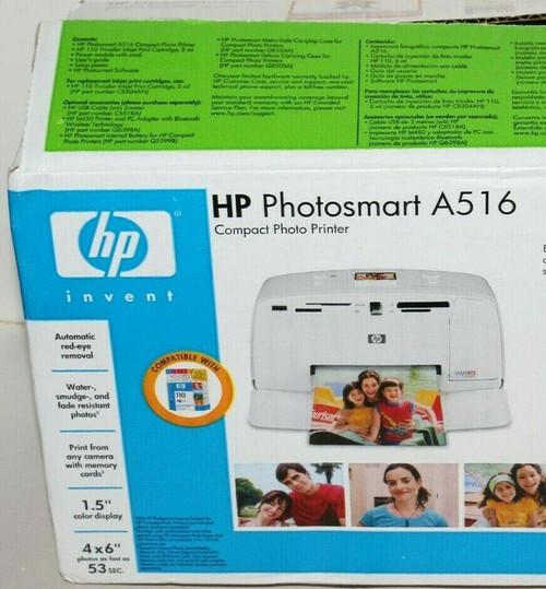 HP Photosmart A516 Compact Digital Photo Inkjet Printer - Open Box