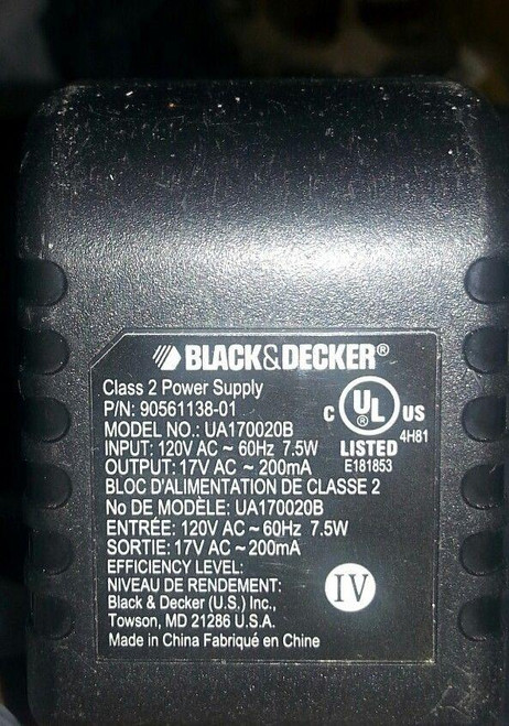 Black & Decker UA170020B AC Adapter Charger 17VAC Adapter 90561138-01-Used