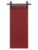 red painted wood barn door