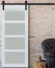 4 panel Frosted Glass White Wood Sliding Barn Door