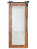 wood barn door with full pane glass