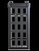 metal frame barn door with glass panels