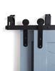 black steel bypassing barn door hardware