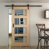 simple black barn door hardware with glass panel