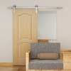 simple brushed steel barn door hardware with slab door
