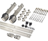 brushed steel barn door hardware set