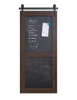 sliding barn door with chalkboard magnetic panels