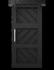 Ginger geometric pattern custom wood sliding barn door in matte black