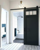 Matte Black 3 window custom sliding wood bathroom barn door