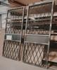 metal diamond print glass sliding barn doors with center cross bar