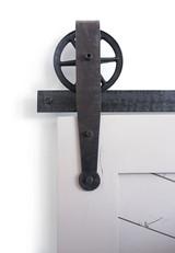farmhouse spoked barn door hardware with strap