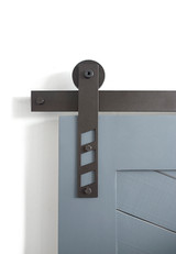 black strap barn door hardware with cutouts