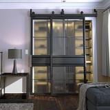 two panel square pane French barn door grey bedroom closet