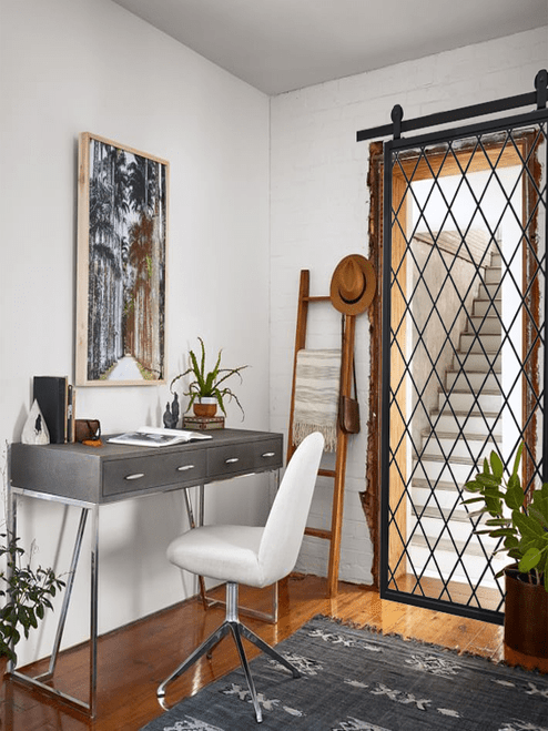 Fully Custom Diamond Pane French Sliding Metal Barn Door Office Lifestyle