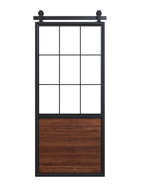 stained wood barn door with square pane glass