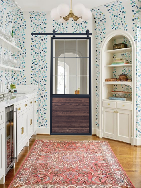 Stained Wood Half Panel French Sliding Barn Door In Kitchen with Light Color Scheme and Traditional/Modern Design