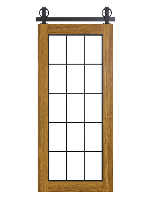 rustic stained wood barn door with full glass window pane