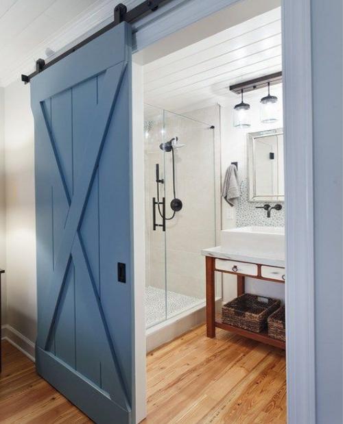 Sedona bathroom sliding barn door painted blue