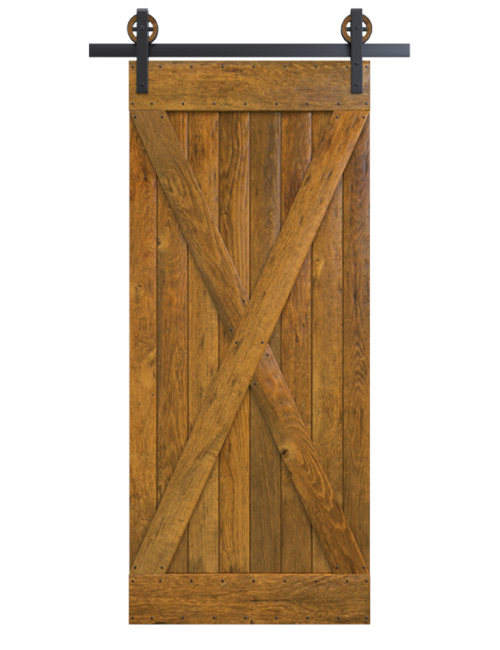 sedona stained wood full x panel barn door