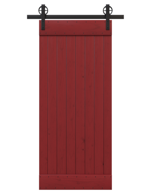 red painted wood barn door