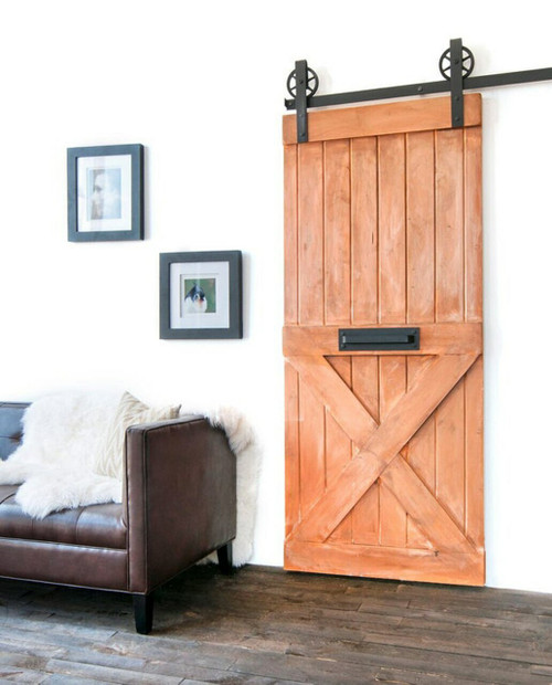 spokane coral painted wood half x panel barn door