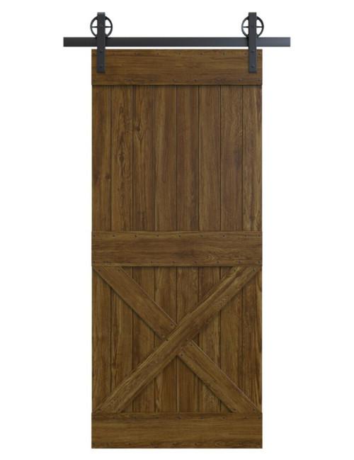 spokane stained wood half x panel barn door