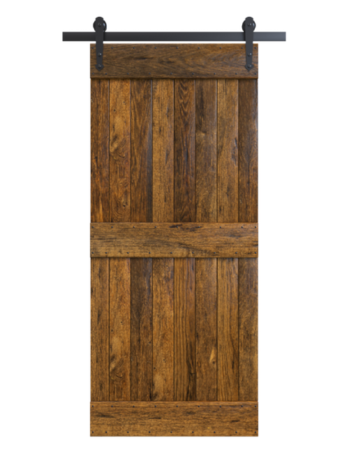 2 panel rustic stained wood barn door
