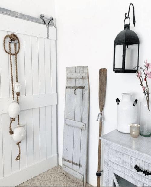 Charleston Sliding Barn Door Painted White Lifestyle