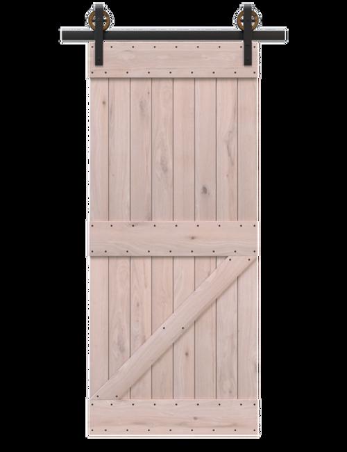 unfinished wood board and batten barn door