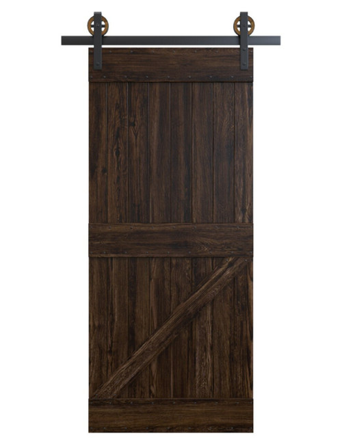 dark stained wood board and batten barn door
