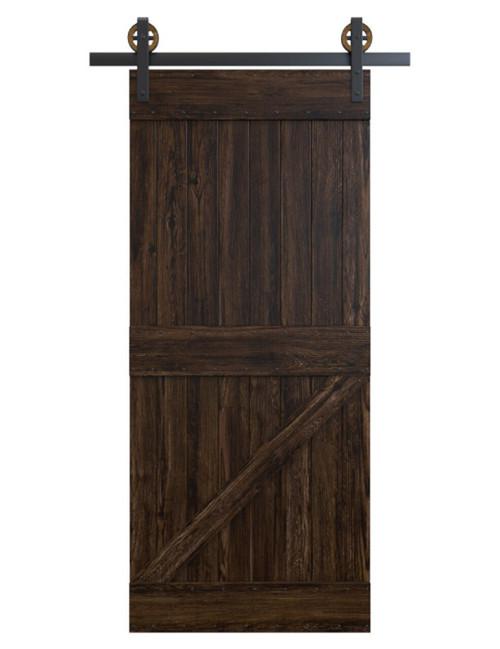 dark stained wood board and batten barn door