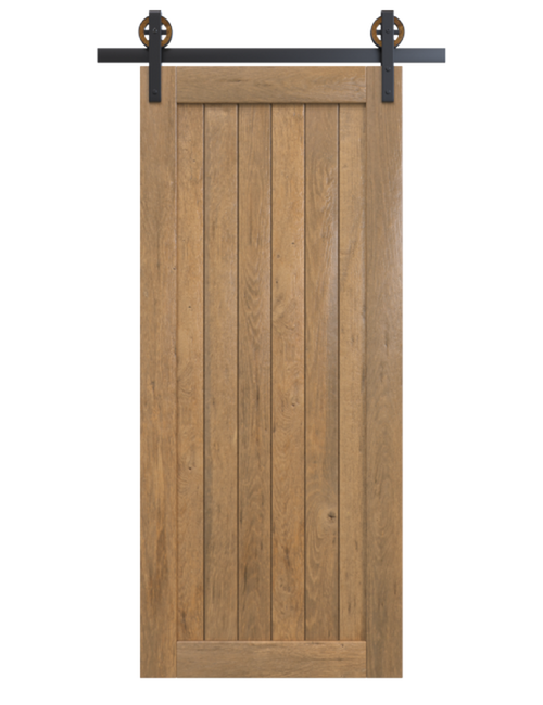 hudson stained wood vertical full panel barn door