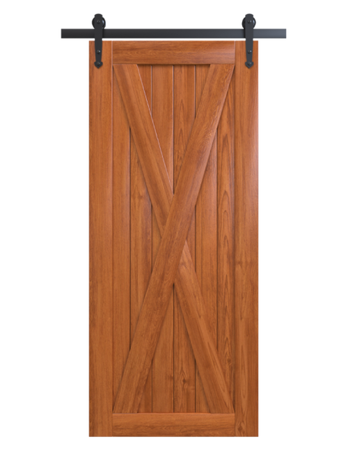 savannah stained wood barn door with classic full x panel