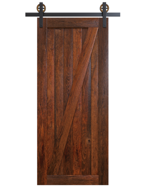 juneau dark stained wood classic z barn door