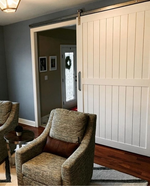 Classic Naples White Painted Wood Sliding Barn Door To Office