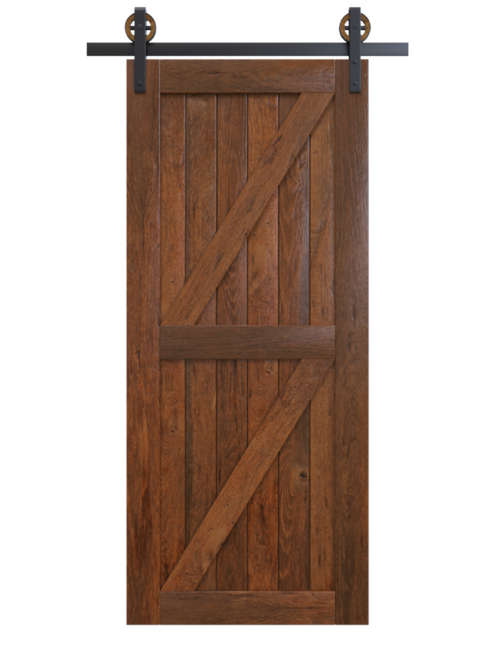 stowe dark stained wood double diagonal pattern barn door