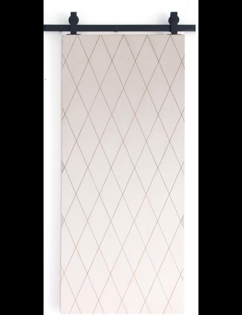 scandinavian-white-painted-wood-barn-door-with-etched-diamond-design