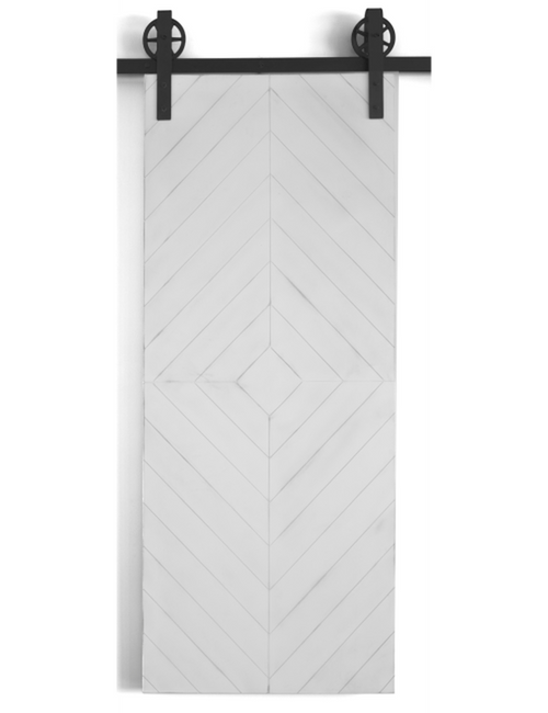 white painted wood diamond barn door