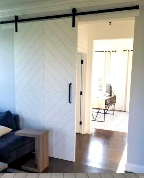 White Modern Diamond Pattern Wood Door To Office